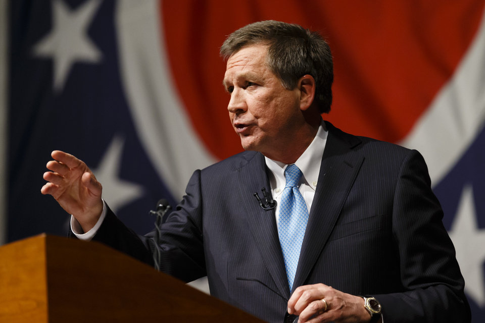 Ohio Gov. John Kasich delivers his State of the State address at Veterans Memorial Civic and Convention Center in Lima, Ohio, Tuesday, Feb. 19, 2013. (AP Photo/Rick Osentoski)