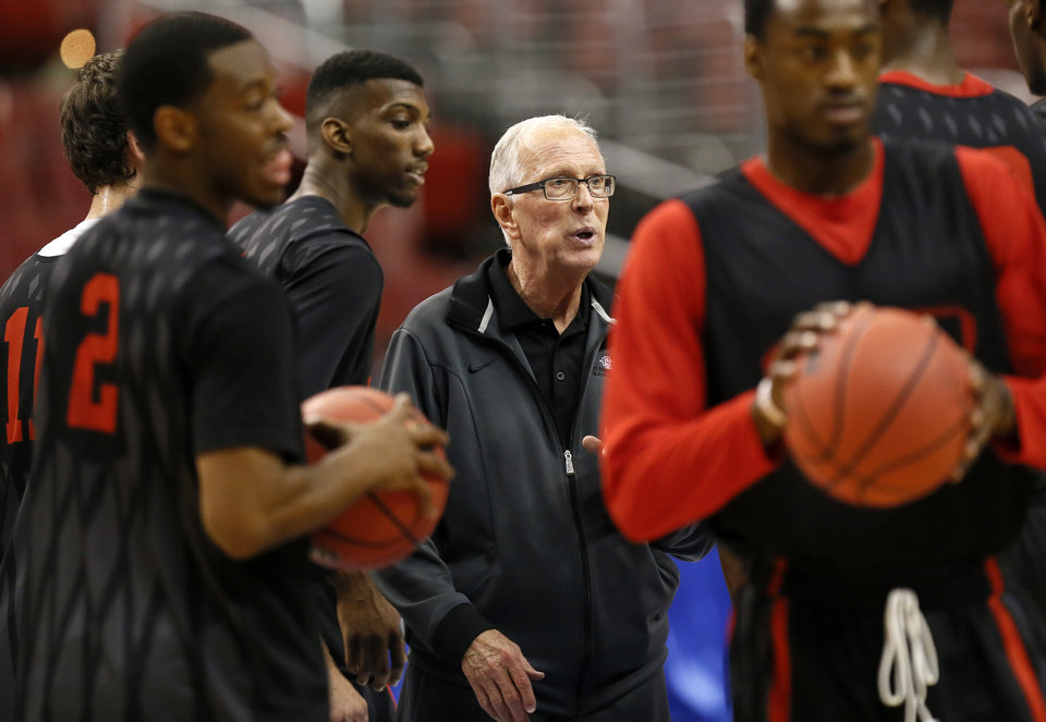 San Diego State coach Steve Fisher talks with his players during the practice and press conference day for the second round of the NCAA men's college basketball tournament at the Wells Fargo Center in Philadelphia, Thursday, March 21, 2013. OU will play San Diego State in the second round on Friday. Photo by Nate Billings, The Oklahoman