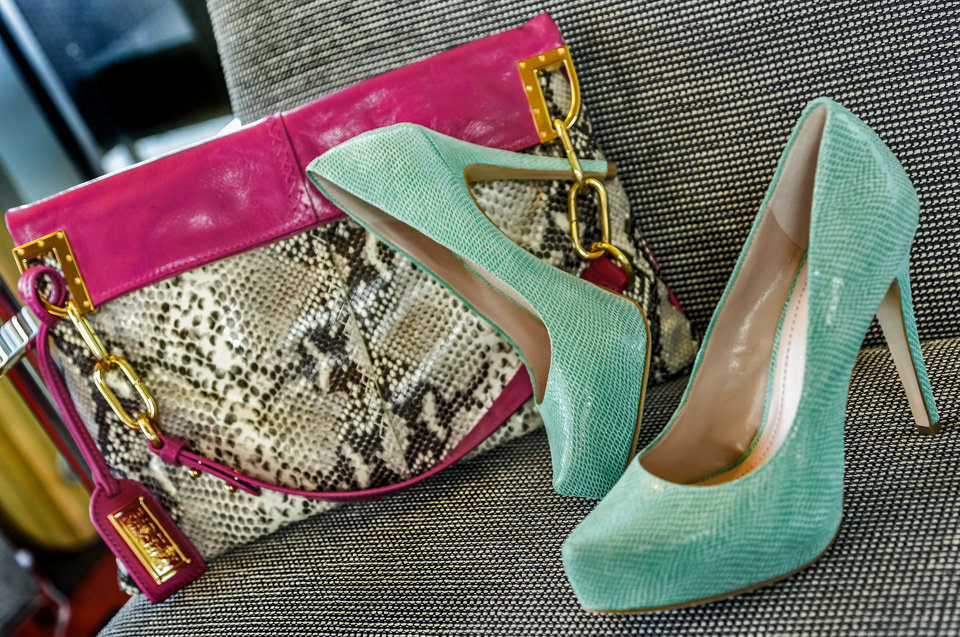 BCBG Generation mint snakeskin pumps and Badgley Mischka fuchsia leather and snakeskin print handbag from Dillard's, Penn Square Mall. Photo by Chris Landsberger, The Oklahoman. <strong>CHRIS LANDSBERGER</strong>