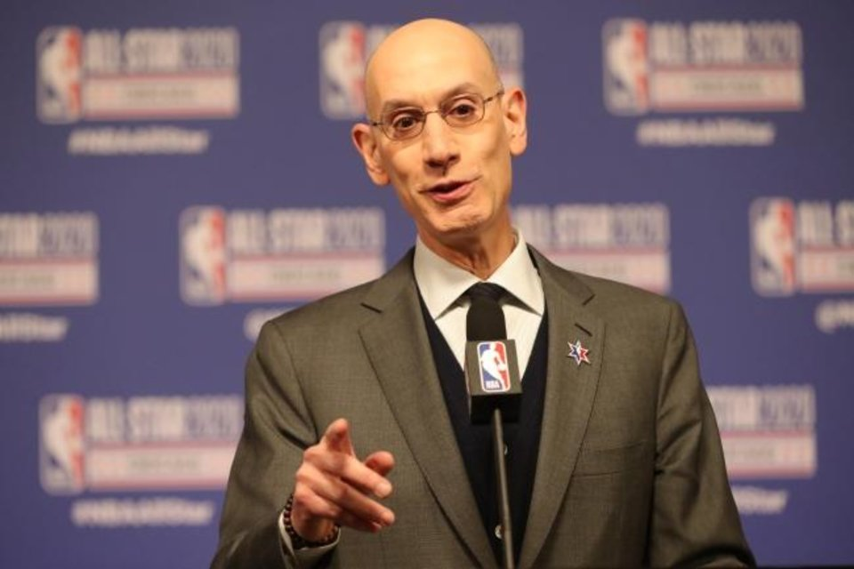 Photo -  Feb 15, 2020; Chicago, Illinois, USA; NBA commissioner Adam Silver speaks at a press conference during NBA All Star Saturday Night at United Center. Mandatory Credit: Dennis Wierzbicki-USA TODAY Sports