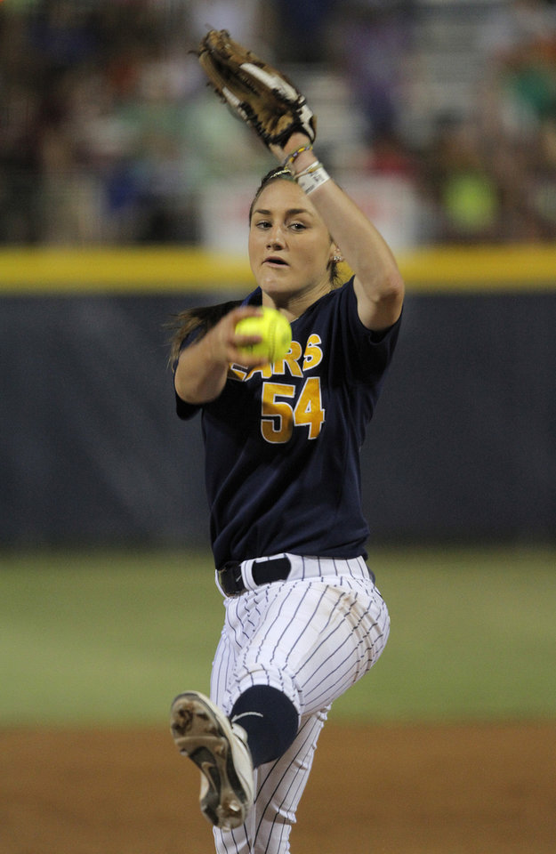 California's Jolene Henderson (54) pitches during a Women's College World Series game between California and Oregon at ASA Hall of Fame Stadium in Oklahoma City,Saturday, June 2, 2012. Photo by Garett Fisbeck, The Oklahoman