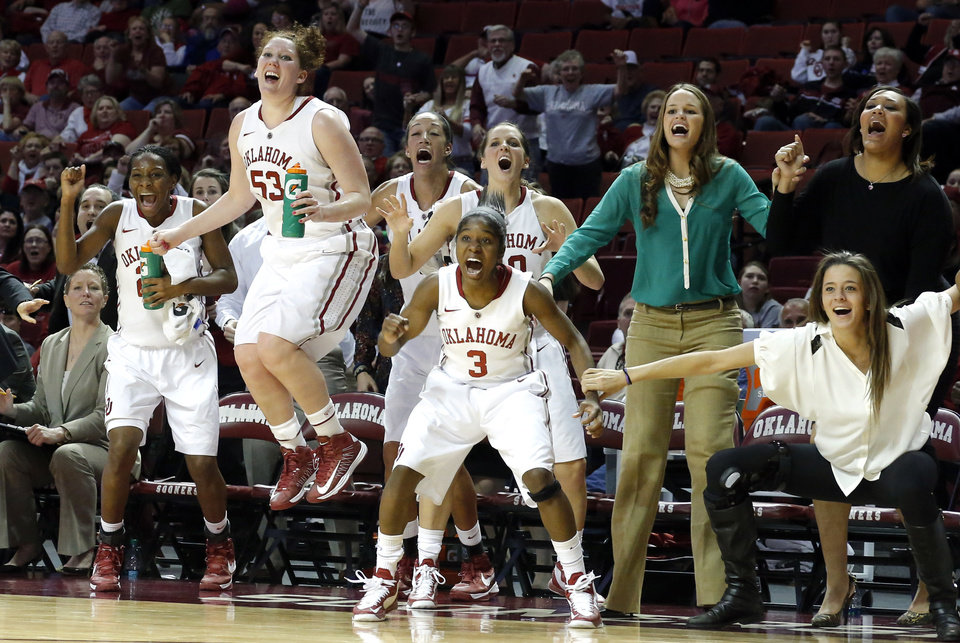 Photo - Oklahoma celebrates during the women's Bedlam basketball game between Oklahoma State University and Oklahoma at the Lloyd Noble Center in Norman, Okla., Sunday, Feb. 10, 2013.Photo by Sarah Phipps, The Oklahoman