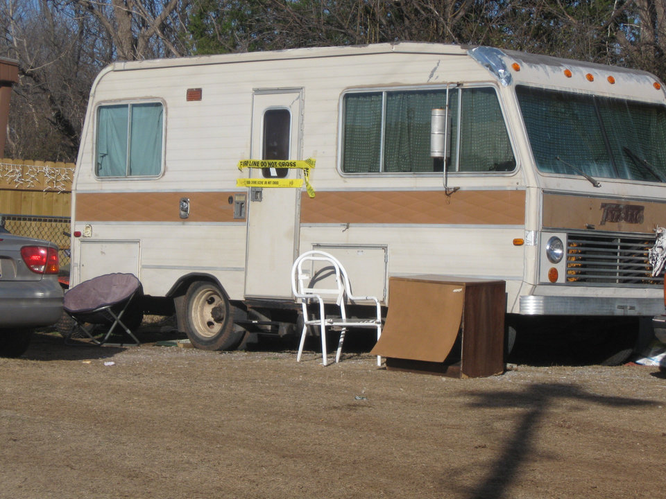 Pictured if the recreational vehicle where the body of Tonya Hobbs was found in Geronimo about 9 p.m. Sunday. Photo by Ron Jackson