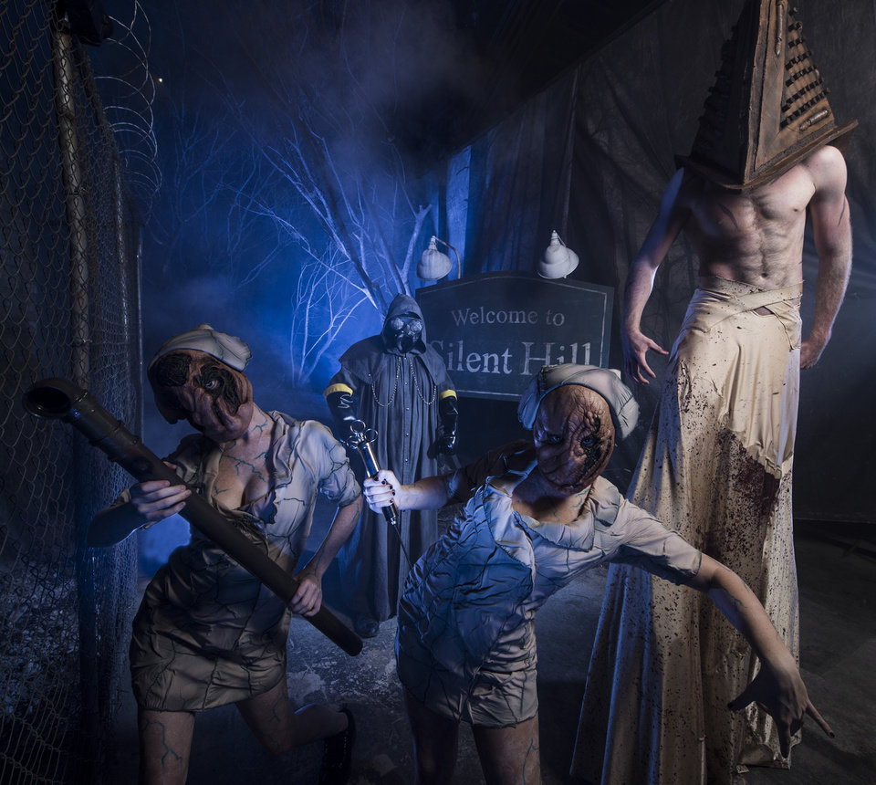 "Photo -   This 2012 image provided by Universal Orlando Resort shows a scene from an attraction themed on the video game and movie ""Silent Hill"" at Universal's Halloween Horror Nights in Orlando, Fla. The theme park also has Halloween attractions inspired by the AMC show ""The Walking Dead,"" Alice Cooper's concept album ""Welcome to My Nightmare"" and a House of Horrors featuring classic monsters from Universal films. (AP Photo/Universal Orlando Resort, Kevin Kolczynski)"