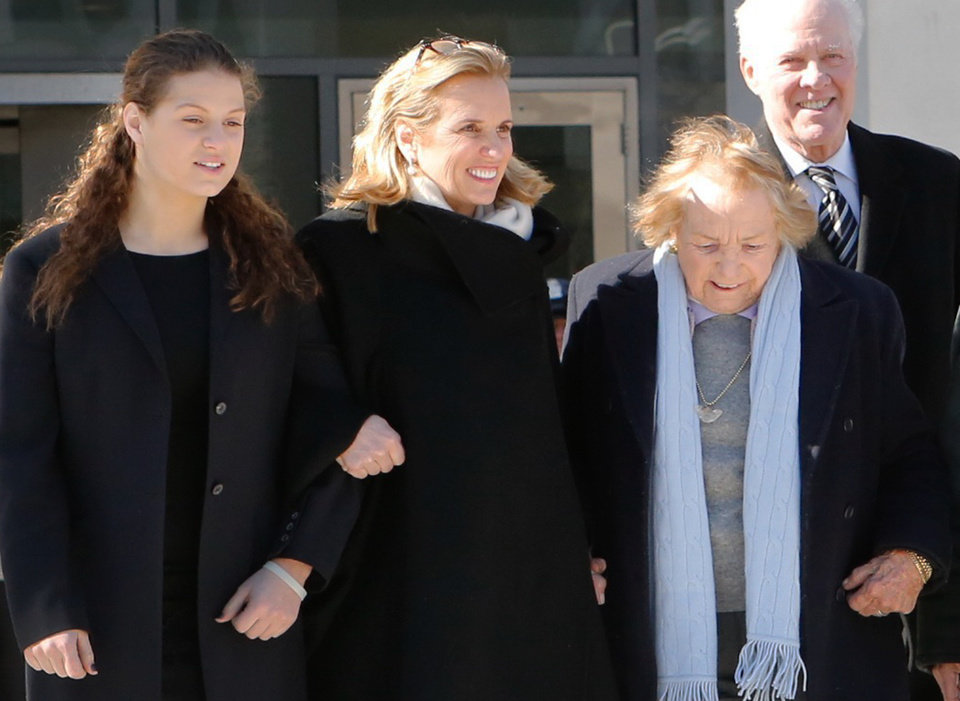 Photo - Kerry Kennedy, second from left, walks with her mother, Ethel Kennedy, right, as she leaves the Westchester County Courthouse, Friday, Feb. 28, 2014 in White Plains, N.Y. Kennedy was acquitted Friday of drugged driving after she accidentally took a sleeping pill and then sideswiped a truck in a wild highway drive in July 2012, she said she didn't remember. (AP Photo/The Journal News, Tania Savayan)  NYC OUT, NO SALES, ONLINE OUT, TV OUT, NEWSDAY INTERNET OUT; MAGS OUT