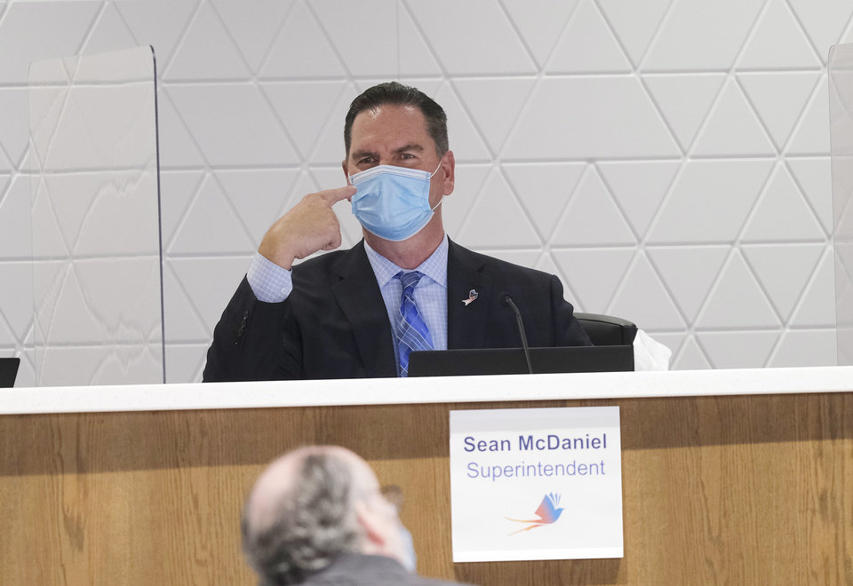 Photo - Sean McDaniel at the first live Oklahoma City School Board meeting in the new Clara Luper Center for Educational Services, Monday, November 9, 2020. [Doug Hoke/The Oklahoman]