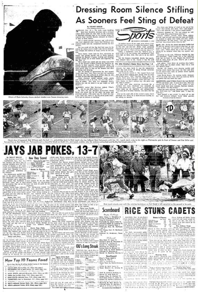 The Daily Oklahoman sports cover from Nov. 17, 1957, with coverage of the Sooners\' loss to Notre Dame. FROM THE OKLAHOMAN ARCHIVES
