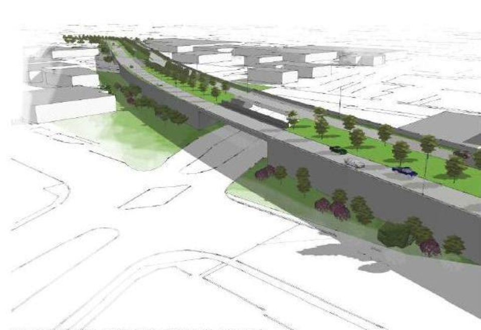 Photo - The Oklahoma Department of Transportation advocates building the new downtown boulevard as an elevated roadway crossing Classen Boulevard as shown in this drawing. Drawing Provided