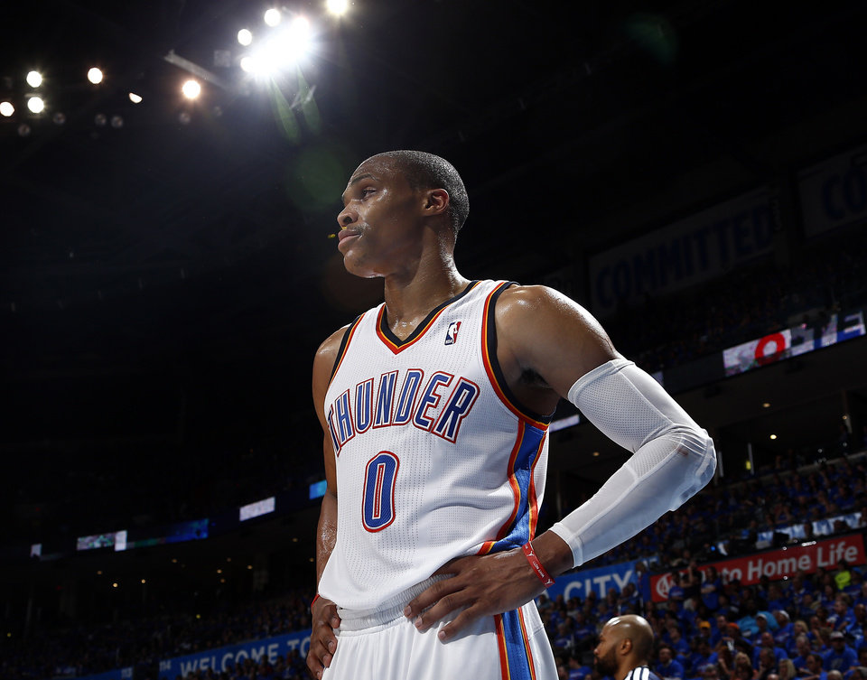 Photo - Oklahoma City's Russell Westbrook (0) reacts to a pay during Game 1 of the Western Conference semifinals in the NBA playoffs between the Oklahoma City Thunder and the Los Angeles Clippers at Chesapeake Energy Arena in Oklahoma City, Monday, May 5, 2014. Photo by Sarah Phipps, The Oklahoman