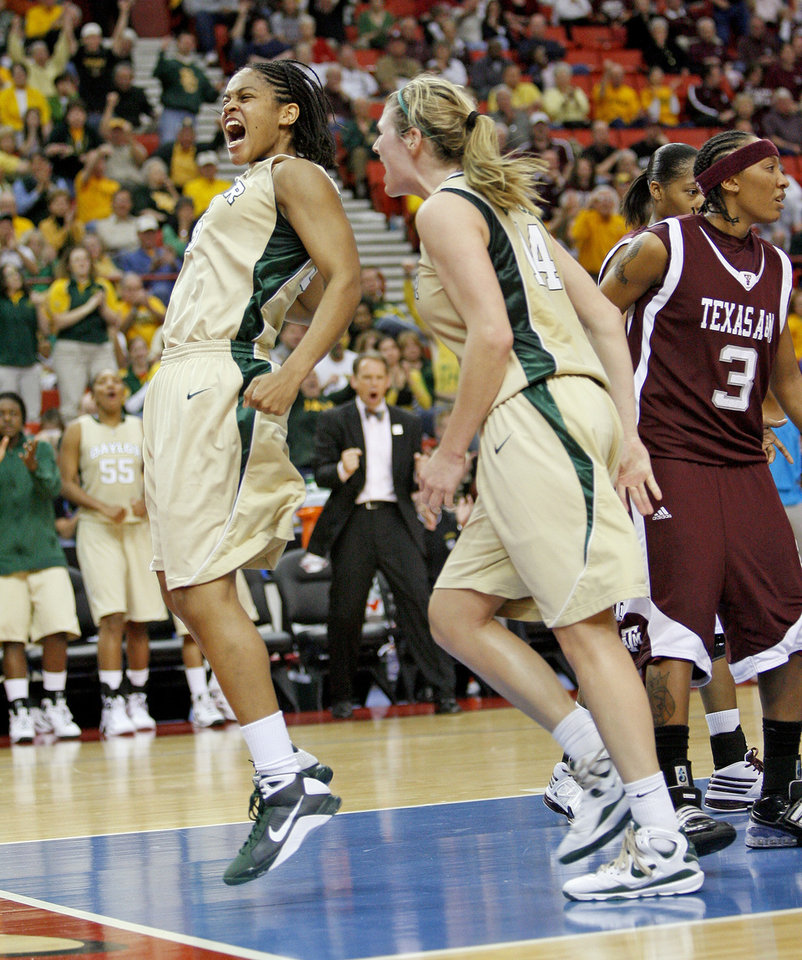 Photo - Baylor's Jhasmin Player, left, celebrates beside Rachel Allison and Takia Starks of Texas A&M during the championship game of the Big 12 Women's Basketball Championship between Baylor and Texas A&M at the Cox center in Oklahoma City, Sunday, March 15, 2009. PHOTO BY BRYAN TERRY, THE OKLAHOMAN