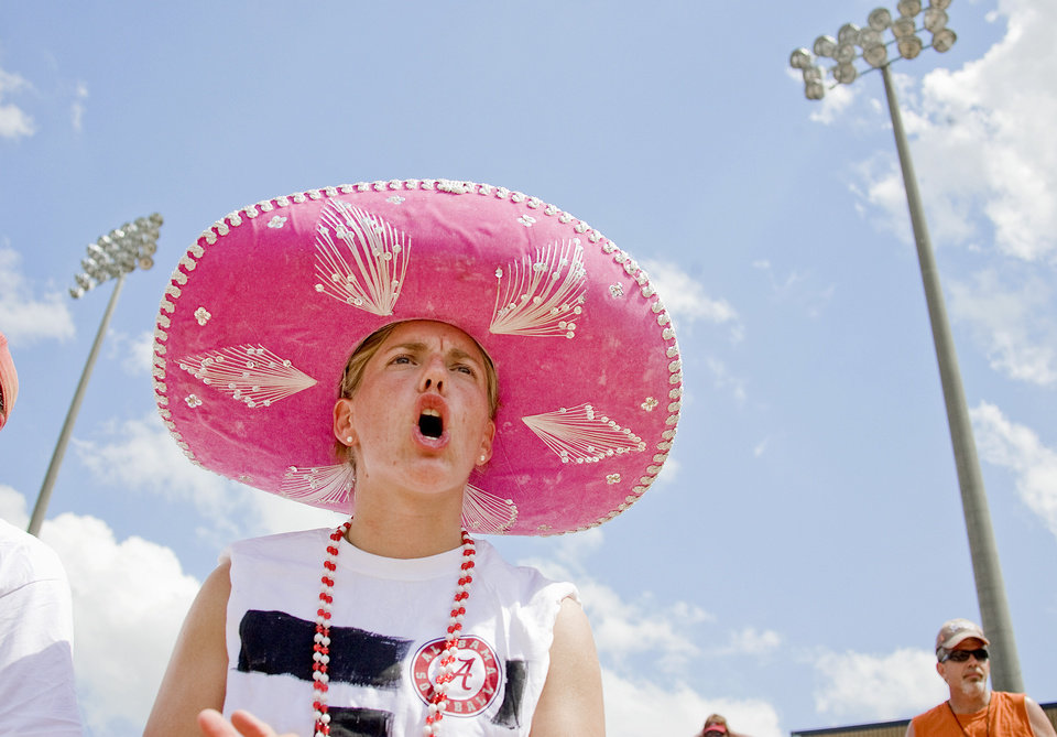 Emily Pitek cheers for Alabama during the Women's College World Series game between Alabama and Arizona at ASA Hall of Fame Stadium in Oklahoma City, Saturday, May 31, 2008. BY BRYAN TERRY, THE OKLAHOMAN