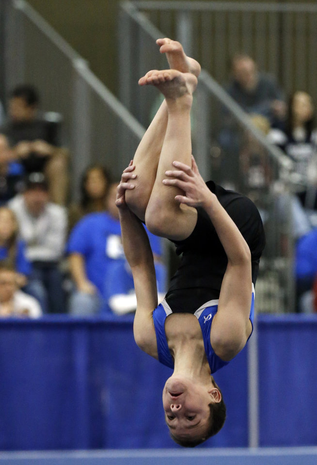 Photo - Alden Hunt, 11, from Lawrence, Kansas, competes in the floor exercise at the Bart Connor Invitational Sports Festival on Saturday, Feb. 16, 2013  in Oklahoma City, Okla. Photo by Steve Sisney, The Oklahoman