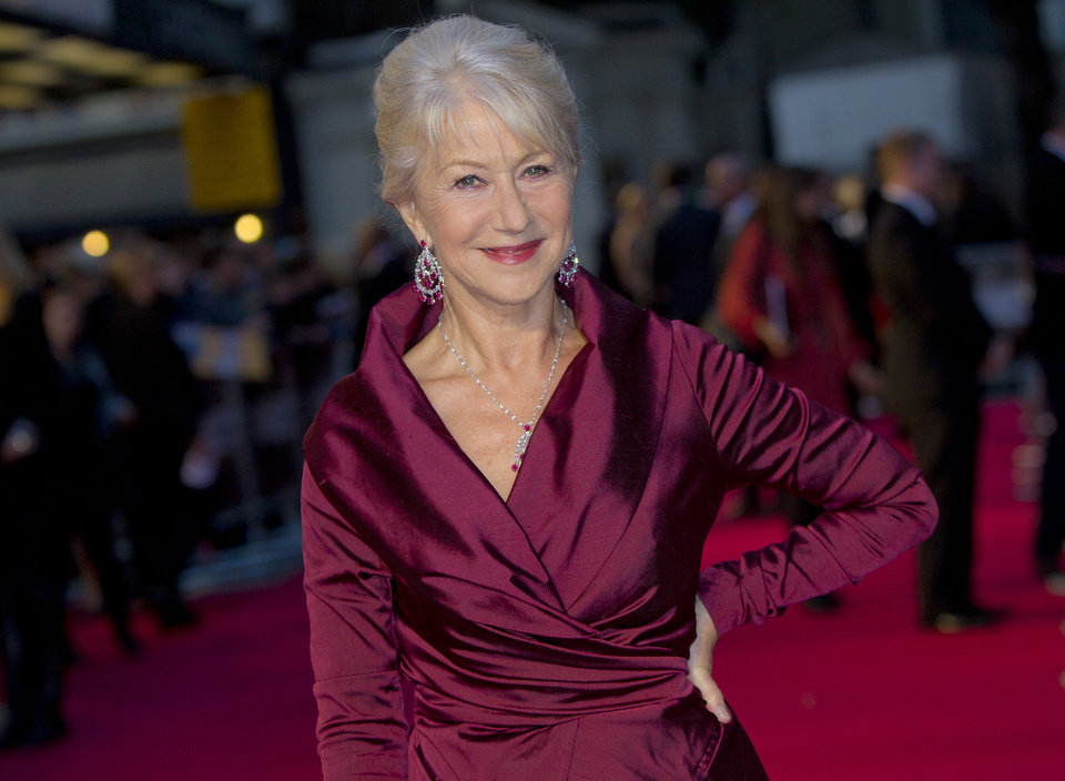 FILE- British actress Helen Mirren in London, for the United Kingdom Premiere of \'The Debt\', in this file photo dated Wednesday, Sept. 21, 2011. Mirren is widely seen as a favorite to reign as best actress for her performance as Queen Elizabeth II in