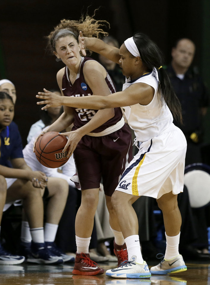 Photo - Fordham's Hannah Missry, left, tries to pass the ball as California's Brittany Boyd, right, defends in the first half of a first-round game in the NCAA women's college basketball tournament, Saturday, March 22, 2014, in Waco, Texas. (AP Photo/Tony Gutierrez)