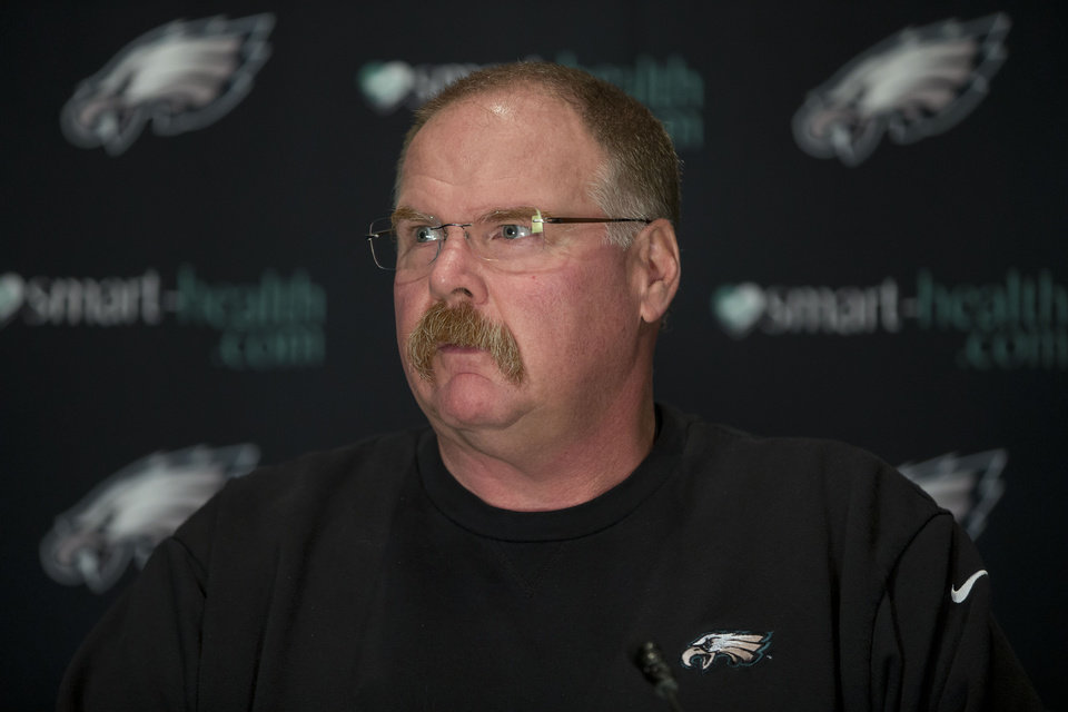 Philadelphia Eagles coach Andy Reid speaks with members of the media during a news conference at the team's NFL football training facility, Tuesday, Nov. 27, 2012, in Philadelphia. (AP Photo/Matt Rourke)