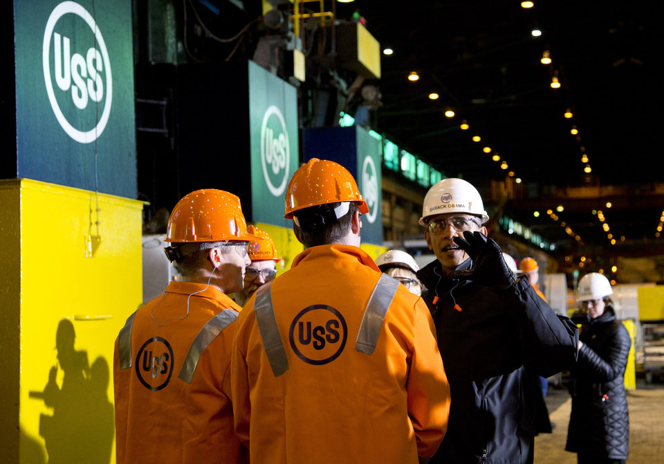 Photo - President Barack Obama tours the U.S. Steel Irvin Plant, Wednesday, Jan. 29, 2014, in West Mifflin, Pa., before speaking about retirement policies he highlighted in the State of the Union address. (AP Photo/Carolyn Kaster)