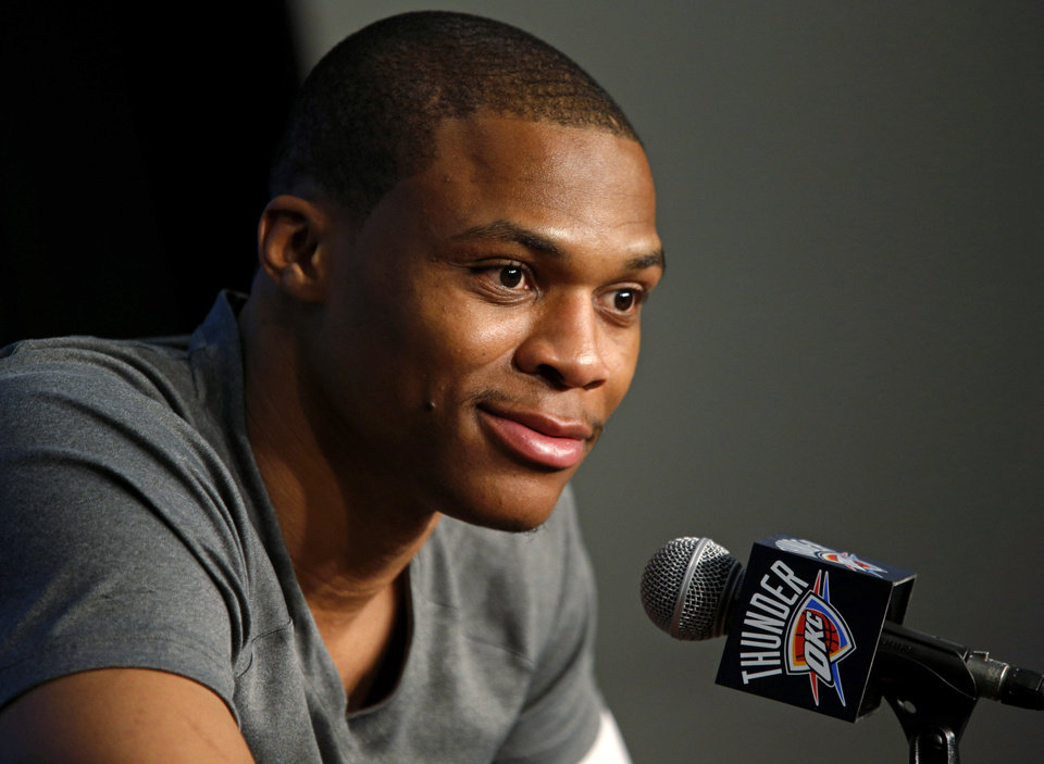 Oklahoma City\'s Russell Westbrook talks during a press conference before an NBA basketball game between the Oklahoma City Thunder and the Miami Heat at Chesapeake Energy Arena in Oklahoma City, Thursday, Feb. 20, 2014. Photo by Bryan Terry, The Oklahoman