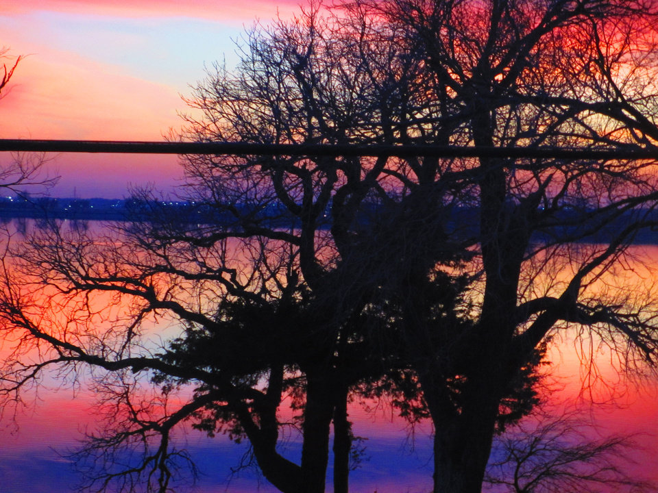 Lake Overholser Sunset Tonight, 01-23-2013