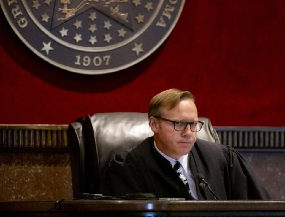 Photo -  Judge Thad Balkman is expected to issue a final ruling Friday in the opioid trial in Cleveland County.[Chris Landsberger/The Oklahoman]
