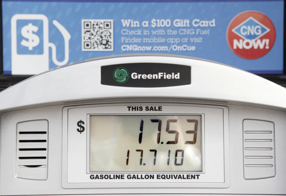 The price of CNG is shown at the OnCue Express at 1 NW 23 in Oklahoma City.  Photo By Paul Hellstern, The Oklahoman