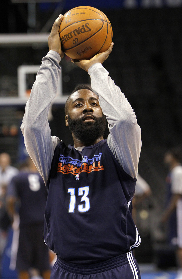 Oklahoma City\'s James Harden takes a shot during the NBA Finals practice day at the Chesapeake Energy Arena on Monday, June 11, 2012, in Oklahoma City, Okla. Photo by Chris Landsberger, The Oklahoman
