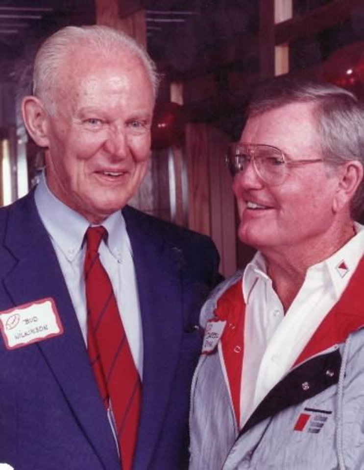 Photo - University of Oklahoma football coach Bud Wilkinson, center, with Darrell Royal former University of Texas coach. 10/27/1989. Photo by Jim Beckel