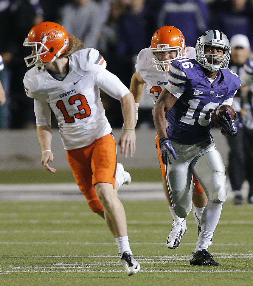 Kansas State\'s Tyler Lockett (16) runs past Oklahoma State\'s Quinn Sharp (13) on a kick return for a touchdown during the college football game between the Oklahoma State University Cowboys (OSU) and the Kansas State University Wildcats (KSU) at Bill Snyder Family Football Stadium on Saturday, Nov. 1, 2012, in Manhattan, Kan. Photo by Chris Landsberger, The Oklahoman