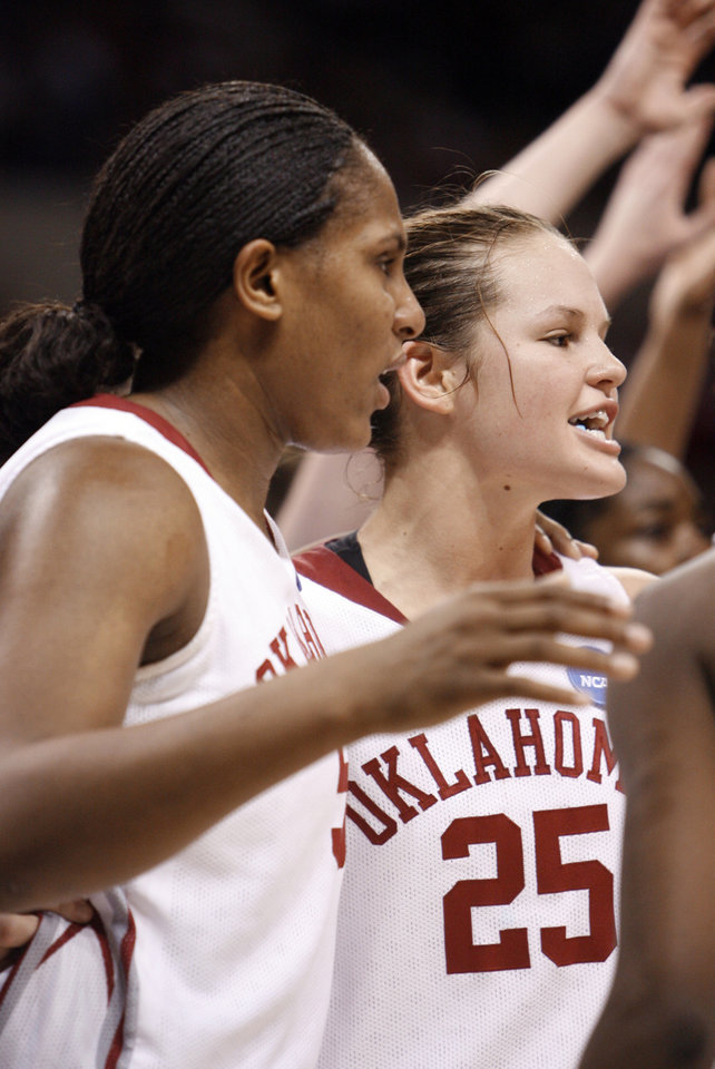 Ashley Paris and Whitney Hand hug in the second half of the NCAA women's basketball tournament game between the University of Oklahoma and Pittsburgh at the Ford Center in Oklahoma City, Okla. on Sunday, March 29, 2009. 