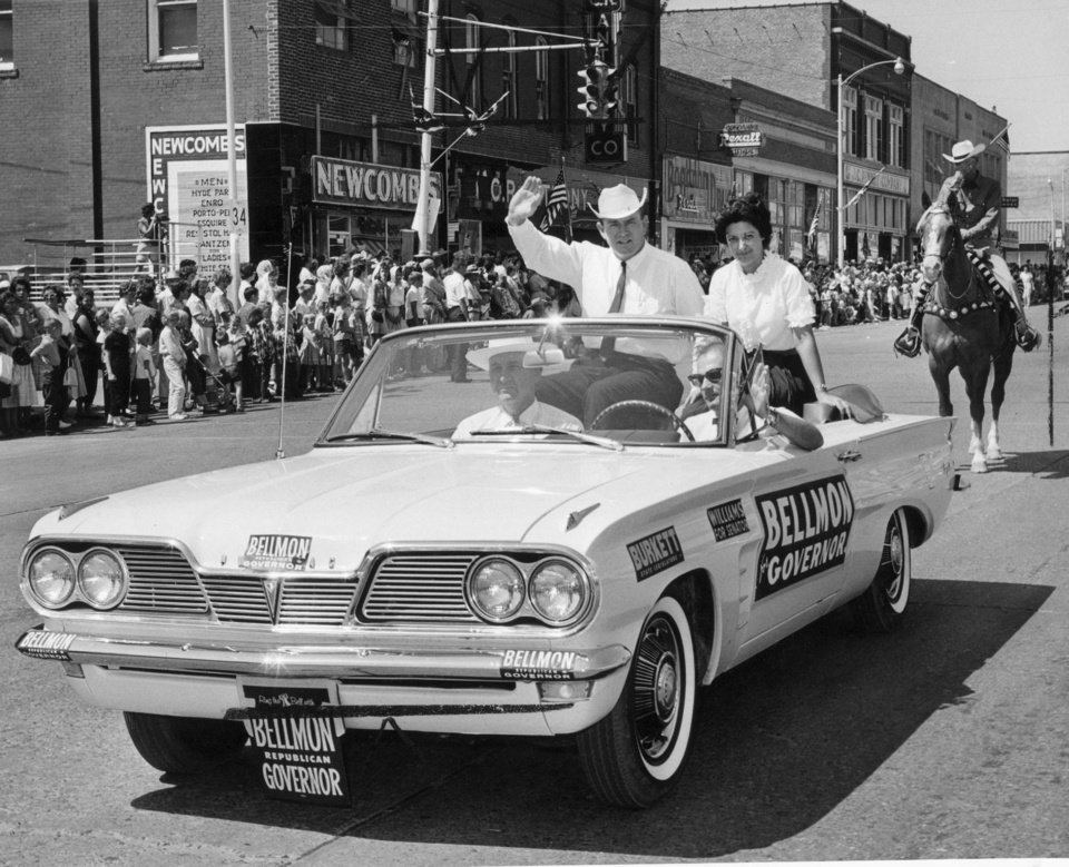 Henry Bellmon and his wife Shirley at a parade during  his first governor's  race. 8/30/1962