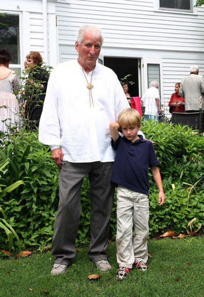 Warren Edwards, Will Woodward, 5, celebrated the 100th birthday of Warren\'s house. (Photo by David Faytinger).