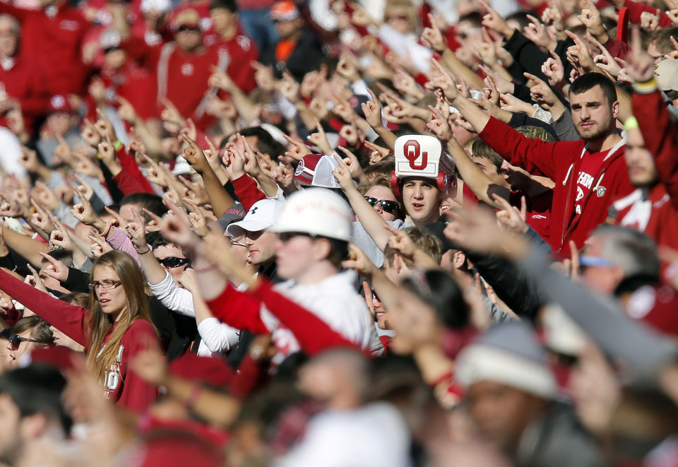 "OU fans sing the ""OU Chant"" before the Bedlam college football game between the University of Oklahoma Sooners (OU) and the Oklahoma State University Cowboys (OSU) at Gaylord Family-Oklahoma Memorial Stadium in Norman, Okla., Saturday, Nov. 24, 2012. Photo by Nate Billings , The Oklahoman"