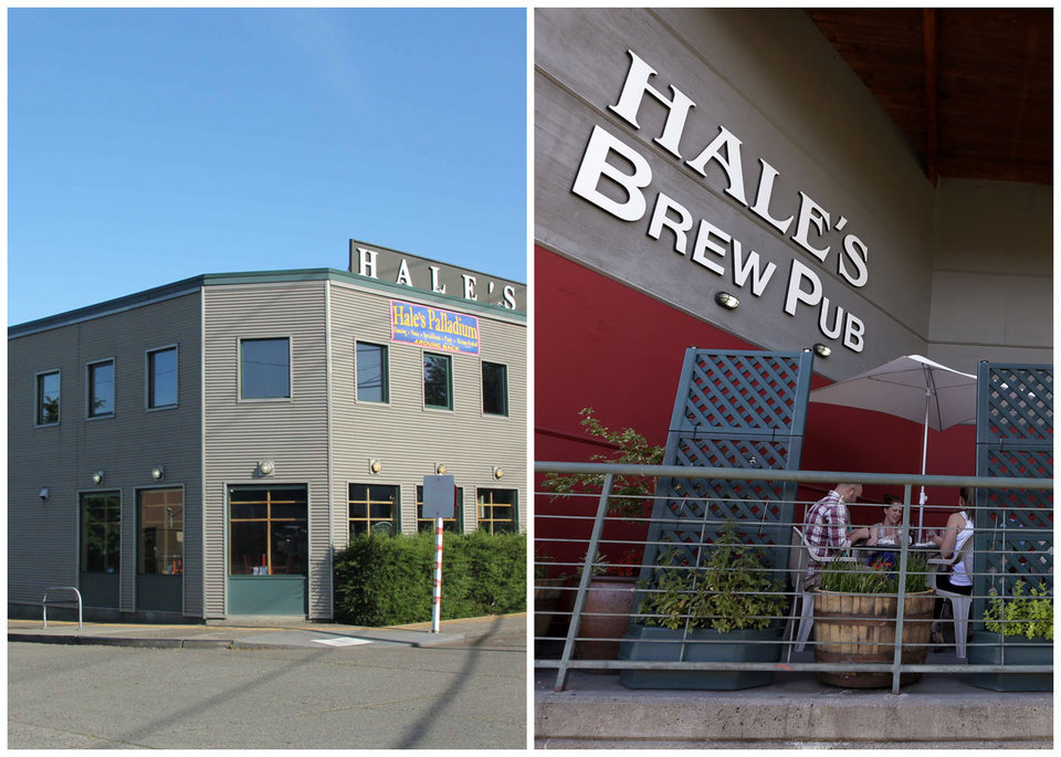Photo - This combination photo shows left, a photo provided by Hale's Ales Brewery in its early days, and right, people eating in the outdoor seating area at Hale's Ales Brewery and pub in the Ballard neighborhood of Seattle on June 28, 2013. In 1995, Hale's Ales took over a facility that had housed an industrial hose manufacturer and before that a maker of engines. The neighborhood has become