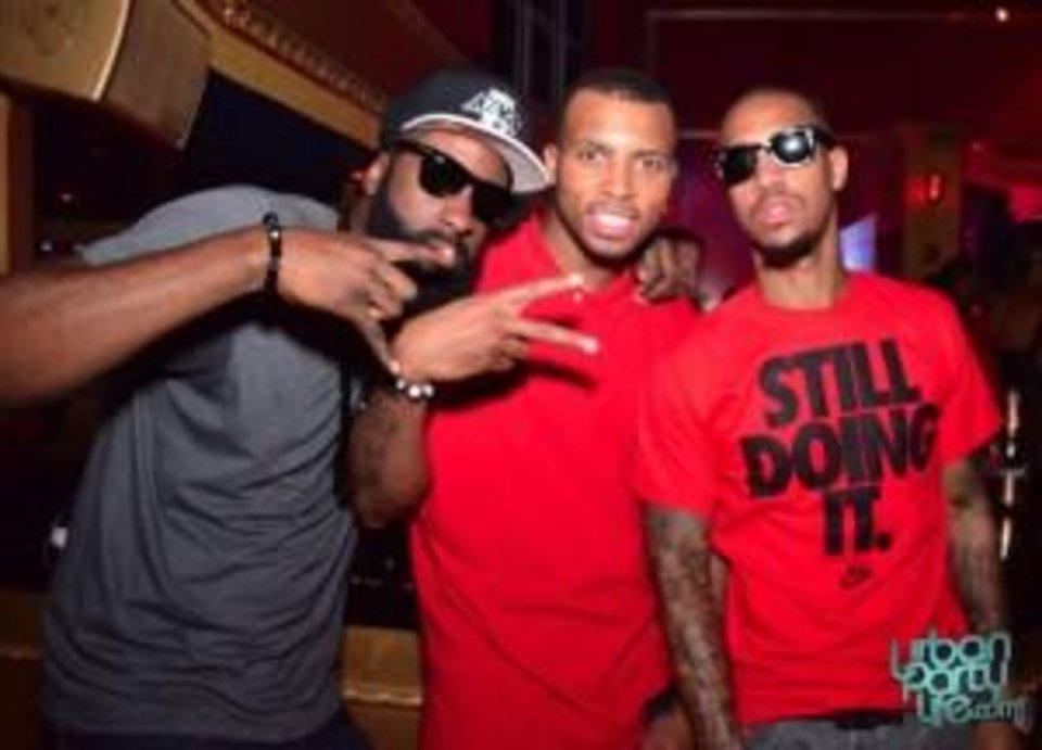 Photo -  OKC Thunder guard James Harden (far left) apparently knows how to get it in.
