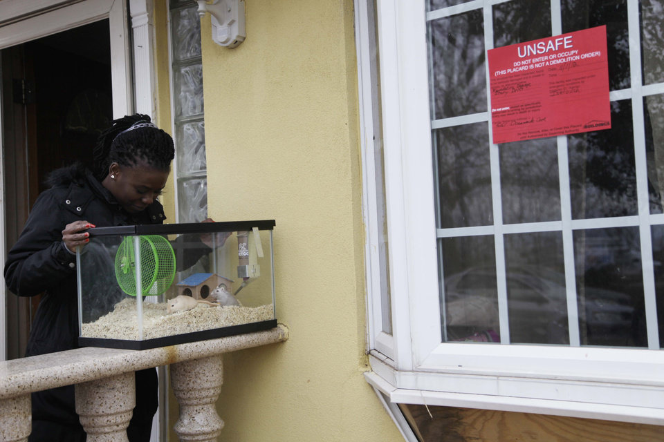 In this Nov. 1, 2012, photo, Irmine Celestine looks at her nephew's gerbils on the stoop of his house in the Midland Beach section of Staten Island, New York. After the home was deemed unsafe by inspectors, Celestine agreed to take the gerbils until her nephew could find a more permanent place to stay. Superstorm Sandy drove New York and New Jersey residents from their homes, destroyed belongings and forced them to find shelter for themselves _ and for their pets, said owners, who recounted tales of a dog swimming through flooded streets and extra food left behind for a tarantula no one was willing to take in. (AP Photo/Seth Wenig)