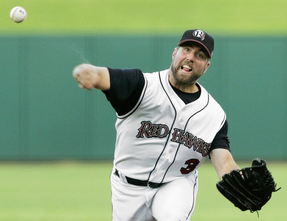 Oklahoma's R.A. Dickey (30) pitches against Omaha during the Oklahoma RedHawks minor league baseball game against the Omaha Royals at the AT&T Bricktown Ballpark, Thursday, August 24, 2006, in Oklahoma City. By Nate Billings, The Oklahoman ORG XMIT: KOD