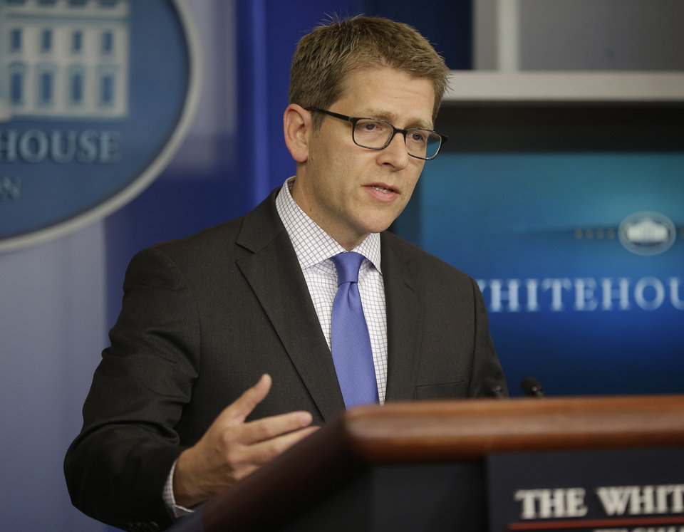 Photo - White House Press Secretary Jay Carney during his daily news briefing at the White House in Washington, Friday, May, 10, 2013. Carney responded on Senate Minority Leader Mitch McConnell, R-Ky, calling on  top-to-bottom review of the Obama administration after the IRS admitted that it had targeted conservative groups during the 2012 election. (AP Photo/Pablo Martinez Monsivais)