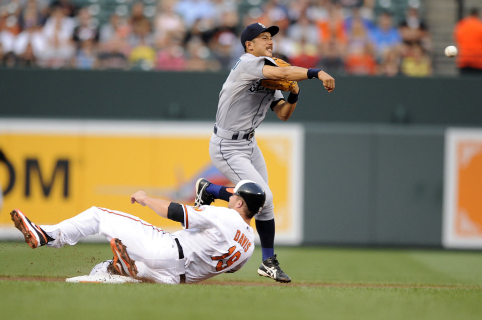 Photo -   Baltimore Orioles' Chris Davis (19) is out at second as Seattle Mariners shortstop Munenori Kawasaki, of Japan, throws to first, where Adam Jones was safe during the first inning of a baseball game, Wednesday, Aug. 8, 2012, in Baltimore. (AP Photo/Nick Wass)