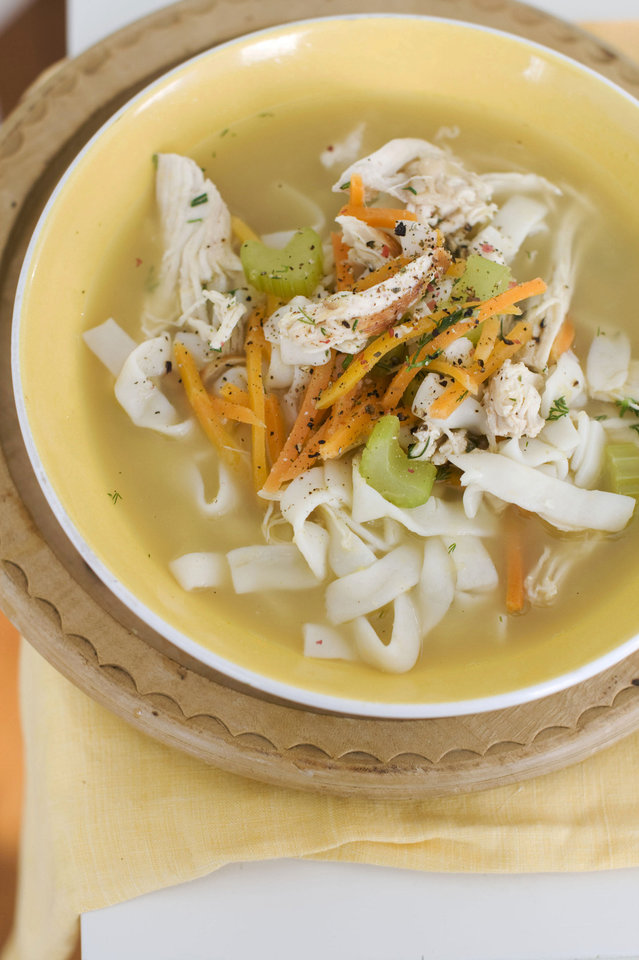 Photo - Chicken and shirataki noodle soup is fast, delicious and good for you.  Matthew Mead - AP