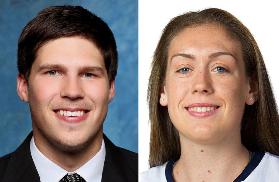 Photo - FILE - From left are 2014 file photos, provided by their respective schools, showing Creighton's Doug McDermott and Connecticut's Breanna Stewart. McDermott was awarded the John R. Wooden Award as college basketball's player of the year. Breanna Stewart is the favorite for the women's award to be announced at the annual gala Friday night, April 11, 2014 in Los Angeles. (AP Photo/File)
