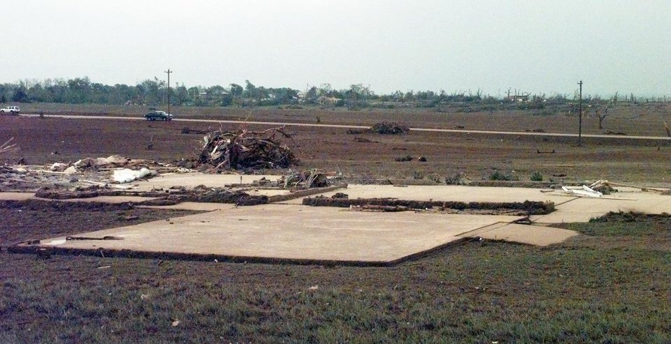 MAY 3, 1999 TORNADO: Tornado damage: Foundation of a house in Newcastle that was destroyed in Monday's tornado .