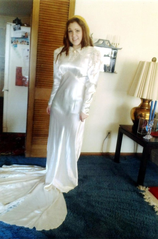 Photo - Dorothy Richardson wore this gown when she was married on April 8, 1937. Her great-granddaughter, Carli Bingernheimer, is wearing the gown in this photo.   - Photo provided by Dorothy Richar