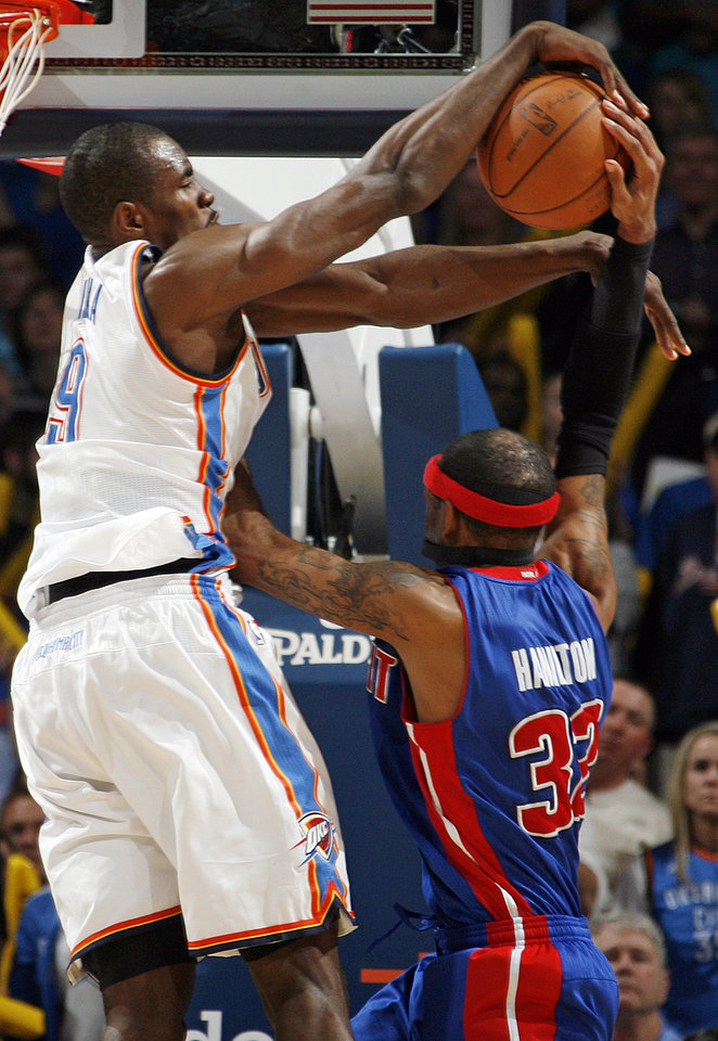 Oklahoma City's Serge Ibaka (9) blocks a shot by Richard Hamilton (32) of Detroit late in the fourth quarter of an NBA basketball game between the Oklahoma  City Thunder and the Detroit Pistons at the OKC Arena in Oklahoma City, Friday, March 11, 2011. Oklahoma City won, 104-94. Photo by Nate Billings, The Oklahoman