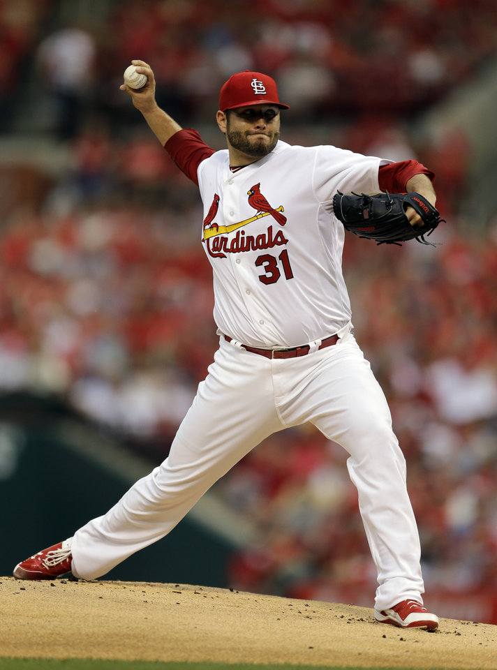 Photo - St. Louis Cardinals starting pitcher Lance Lynn throws during the first inning of a baseball game against the New York Yankees on Tuesday, May 27, 2014, in St. Louis. (AP Photo/Jeff Roberson)