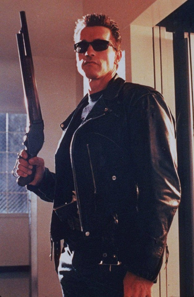 Photo - FILE-- Arnold Schwarzenegger is shown in this undated file photo from a scene in the movie