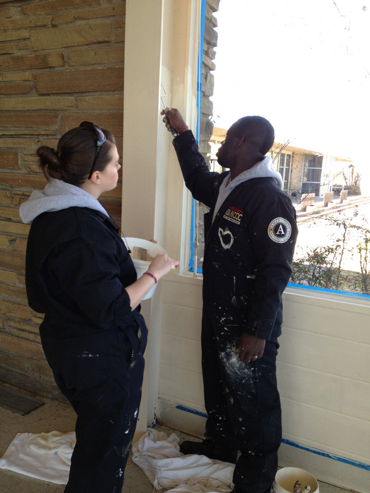 Photo - Team members Chelea Nelson and Gary Bradford work inside the lodge at Lake Murray.  PHOTO PROVIDED BY CAROL SCHNEIDER