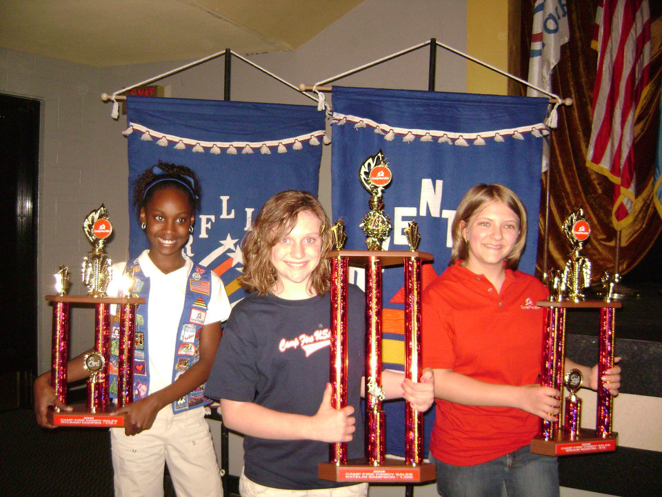 "The top three Camp Fire USA Candy Sale salespersons (from left): Ryleigh Cooper from Ada was third place with 779 units; Katelin Sampson from Ada was first place with 1,000 units; and Brook Martin from Oklahoma City was second place with 812 units.  These young ladies and many more wonderful youth members helped the Heart of Oklahoma Council having its' first Camp Fire Candy Sale ""Sell Out!""  For information, please contact 405-478-5646.<br/><b>Community Photo By:</b> C. Bruce Martin<br/><b>Submitted By:</b> Keri, Oklahoma City"