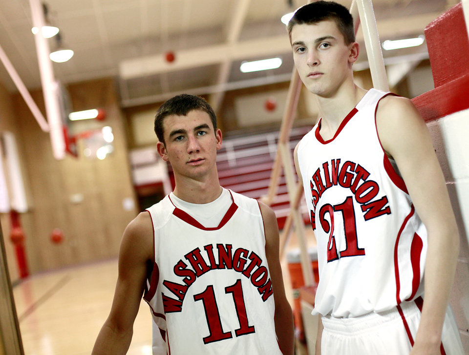 Photo - HIGH SCHOOL BASKETBALL: Washington High School players Jesse Nixon (left) and Cal Andrews pose at Washington High School in Washington, Okla., on Monday, March. 7, 2011. Photo from The Oklahoman Archive ORG XMIT: KOD