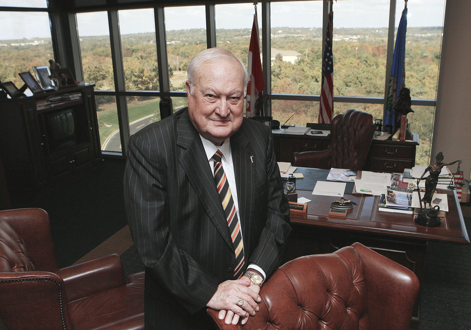 Pre-Paid Legal Services CEO Harland Stonecipher poses for a photo in his office at the company headquarters in Ada. photo By Paul Hellstern, The Oklahoman