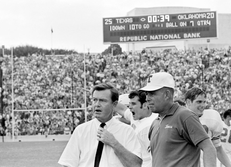 Texas coach Darrell Royal, show with assistant coach Emory Bellard in this file photo from the 1968 OU-Texas game, is one of eight former Bud Wilkinson players who became college football head coaches. Royal died Wednesday, Nov. 7, 2012, at age 88. (AP Photo, File) <strong>SS - AP</strong>