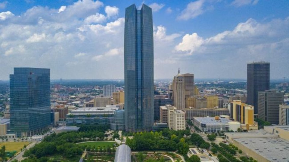 Photo -  Drone image of Devon Tower and Myriad Gardens. Businesses across the metro are closing out of precautions brought on by the new coronavirus, including the restaurant Vast in the Devon Tower and other eateries on the building's ground floor. Image by Dave Morris